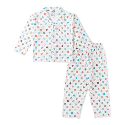 White All Over Circle Print Boys Pyjama Set - DoReMe