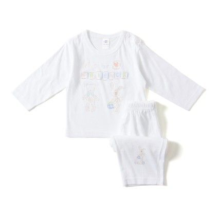 Lets Be Friends Sky  Blue And Ornage Print T-shirt And Pants Set - ZERO