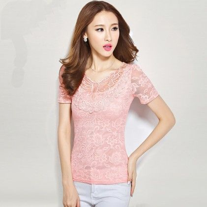 Short Sleeve Lace Blouse Pink - STUPA FASHION