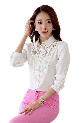 White Shirt With Lace - Mauve Collection