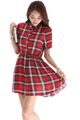 Red Checks Short Dress - Mauve Collection