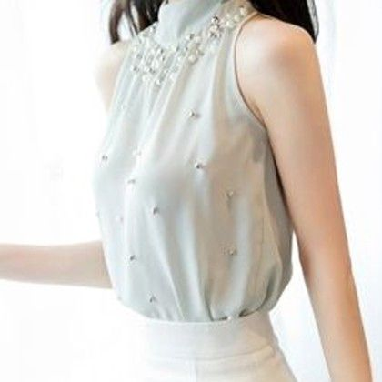 Embroidered Pearl Sleeveless Blue Top - STUPA FASHION