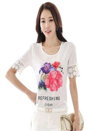 Classy Womens Top White & Print - Mauve Collection