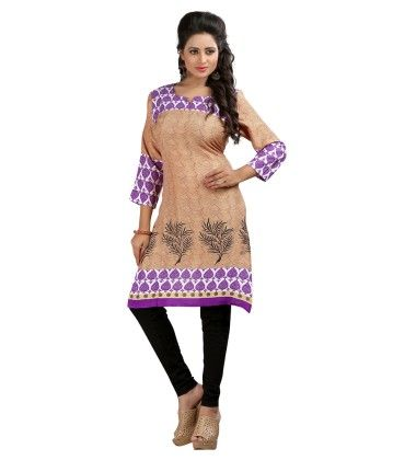 Formal Printed Kurti Purple Beige - Brand Stand