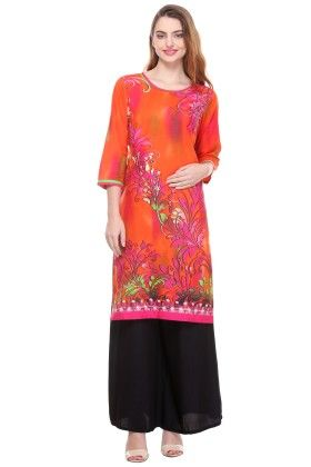 Orange Cambric Printed  Kurti - Riti Riwaz