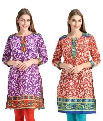 Combo Of Two Kurti Purple Red & Red Turquoise - Brand Stand