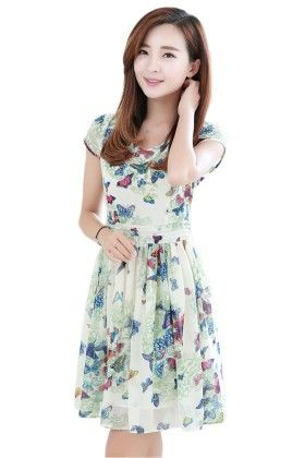 Butterfly Print Short Dress - Mauve Collection