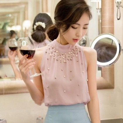 Embroidered Pearl Pink Top - STUPA FASHION