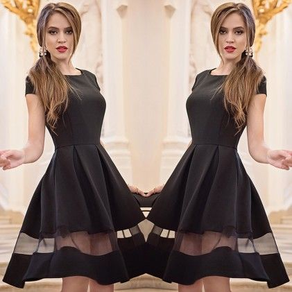 Women Black Knee-length Dress - STUPA FASHION