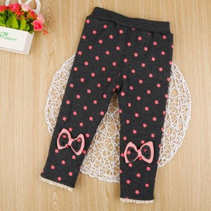 Gray Floral Print Leggings With Bow Applique - Jazzy Snazzy