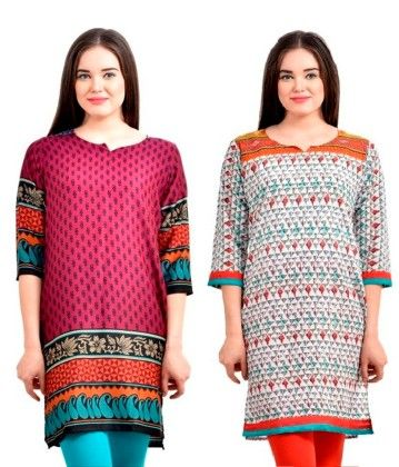 Combo Of Two Kurti Purple & Orange - Brand Stand
