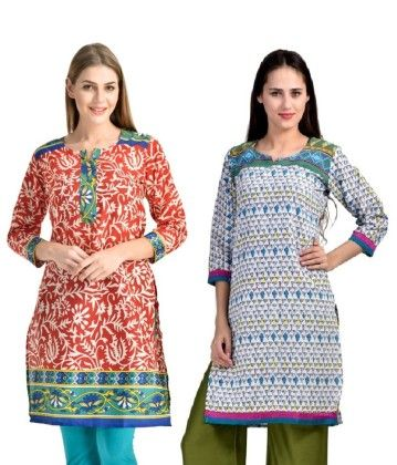 Combo Of Two Kurti Red Turquoise & Turquoise - Brand Stand