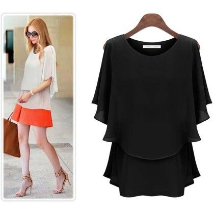 Loose Casual Summer Black Top - STUPA FASHION