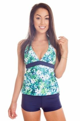 Blue Flower Two Piece Halter Tankini With Boyshort Bottom - Dippin Daisy