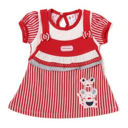 Mouse Applique Red Stripes Cotton Frock - Hip Hip Hurray