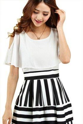 White Stripe Dress - Mauve Collection