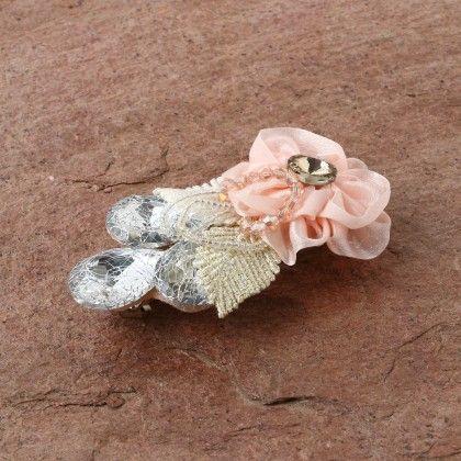 Pretty Floral  Leaf Glitter Stone Clippe- Pink - Anaira
