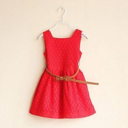 Red Summer Lace Vest Girls Dress Baby Girl Princess Dress - Tulip
