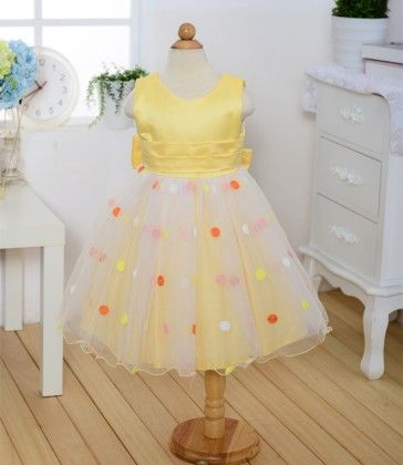 Yellow With Pretty Dots Party And Evening Frock - Teddy Guppies