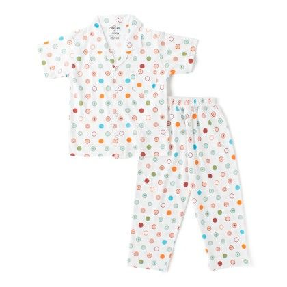 White All Over Circle Print Boys Half Sleeves Pyjama Suit - DoReMe