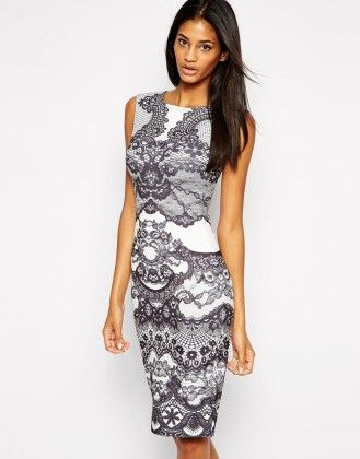 Short Straight Black & White Lace Party Dress - Mauve Collection