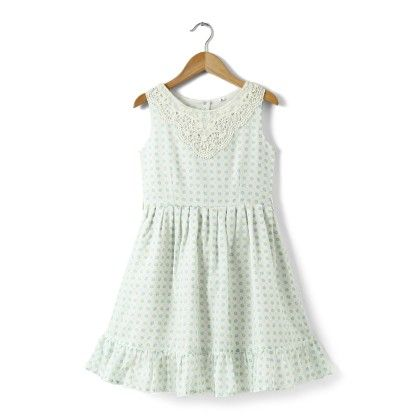 White Printed Cotton Dress With Cotton Lace Bib - Buttercups