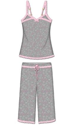 Love That Lace Capri Pj Set - Gray - Rene Rofe
