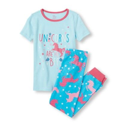 Coast Blue Girls Short Sleeve And Unicorn Print Pants Pj Set - The Children's Place