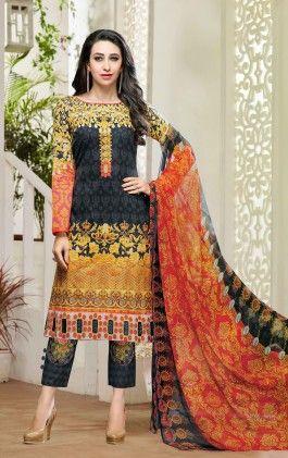 Multi Color Designer Suit With Matching Dupatta - Naari Aavran
