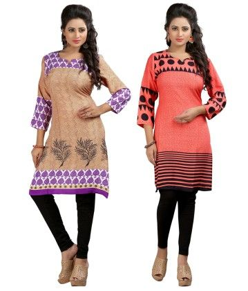 Combo Of Two Kurti Purple Beige & Peach - Brand Stand