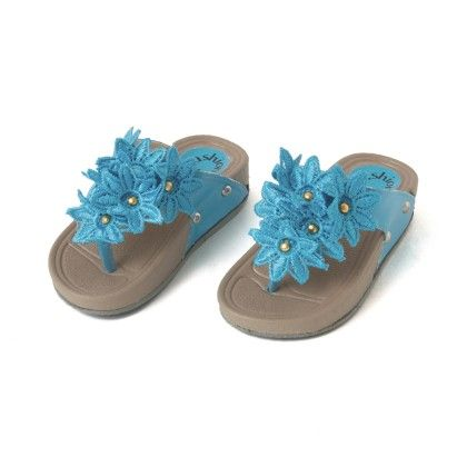 Turquoise Big Flower Sandals - Green