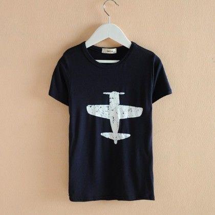 Aeroplane Printed Navy T-shirt - AILE BABY