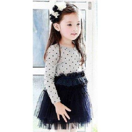 Gorgeous Polka Dot White & Dark Blue Tutu Dress - Cherry Blossoms