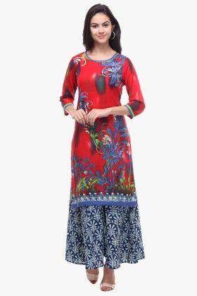 Red Cotton Cambric Printed Kurti - Riti Riwaz