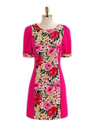 Pink Print Short Dress Pink - Mauve Collection