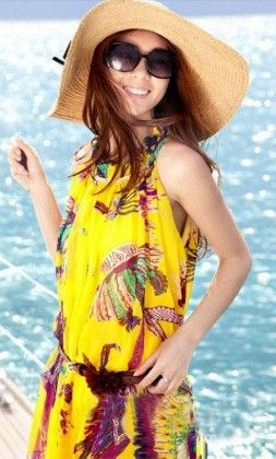 Beautiful Print Beach Dress Yellow - Mauve Collection