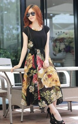 Cap Sleeves Floral Printed Dress - STUPA FASHION