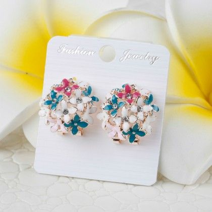 Multi Colored Floral Earring - Glaze