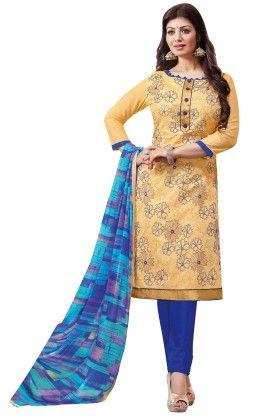 Riti Riwaz Light Yellow Printed Dress Material With Matching Dupatta