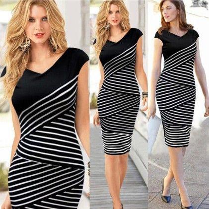 Elegant Black Pencil Dress - STUPA FASHION