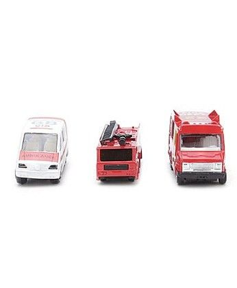 Cars Set Of 3 Ambulance And Fire Truck - Red And White - PlayMate