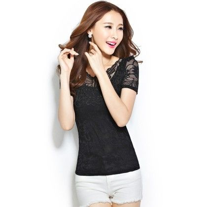 Short Sleeve Lace Shirt Black Blouse - STUPA FASHION