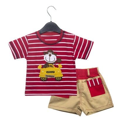 Red Car Stripes T-shirt And Shorts Set - Addis