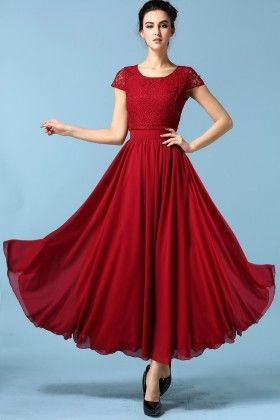 Red Chiffon Patch Work Spring Dress - Mauve Collection