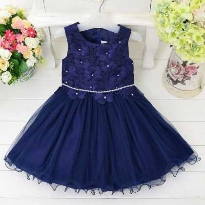 Stylish Blue Floral Applique Flared Dress - Best Baby