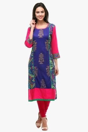 Multi-colour Rayon Printed Kurti - Riti Riwaz
