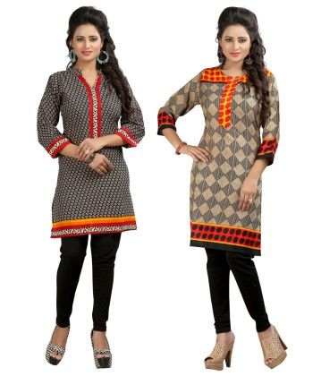 Combo Of Two Kurti Black & Multi - Brand Stand