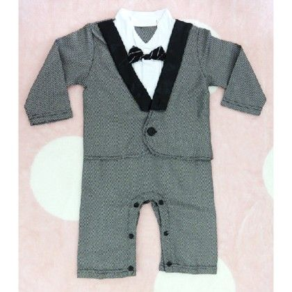 Tuxedo Suit- Grey Baby Romper - Teddy Guppies