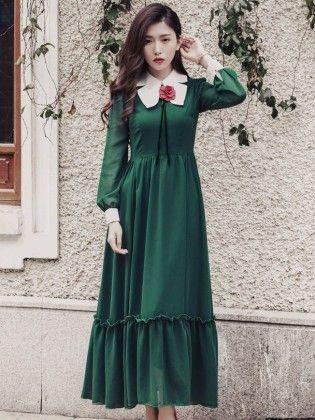 Women's Printed Chiffon Maxi Dress - Mauve Collection
