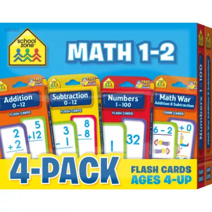 Math 1-2 Flash Card 4-pack - The School Zone